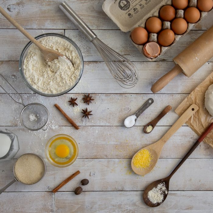 overhead view of montage of baking tools and ingredients