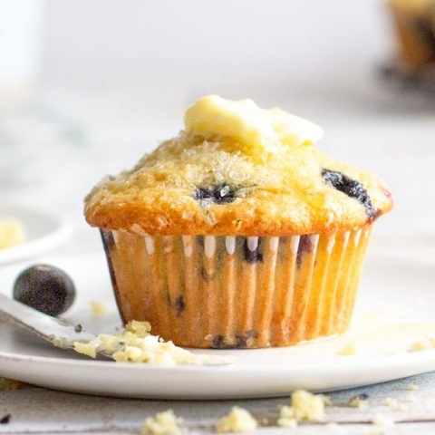 gluten-free blueberry muffins on small white plate with pat of melting butter on top and butter knife blueberries in background