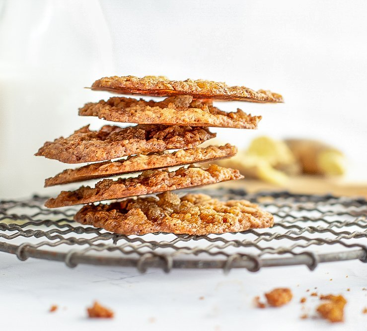 stack of ginger lace cookies on round cooling rack. milk bottle and fresh ginger in background