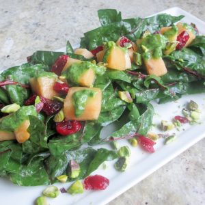 close up salad whith swiss chad, cantaloupe, dried cranberries and pistachios