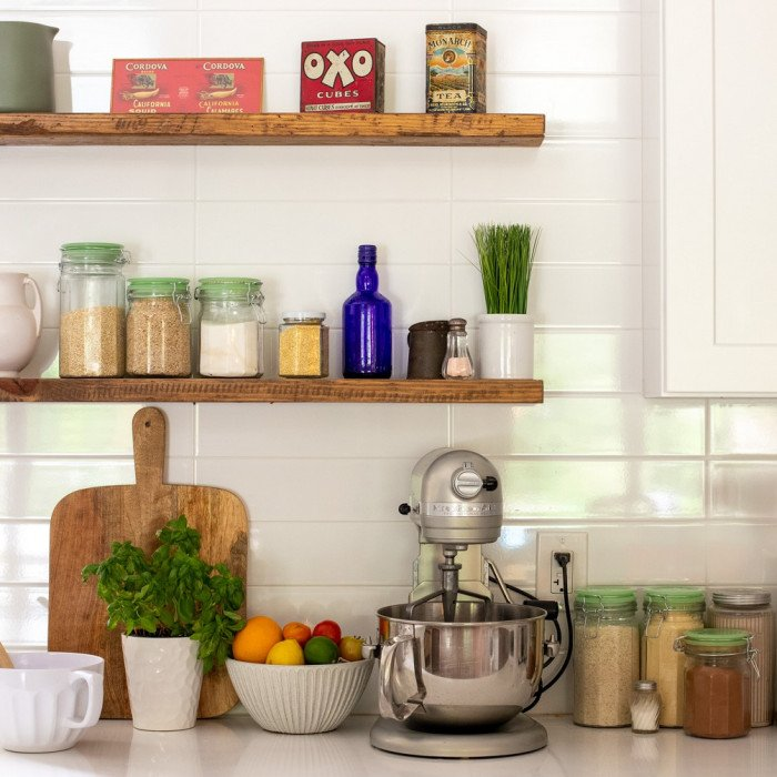 kitchen counter and shelves with gluten free items