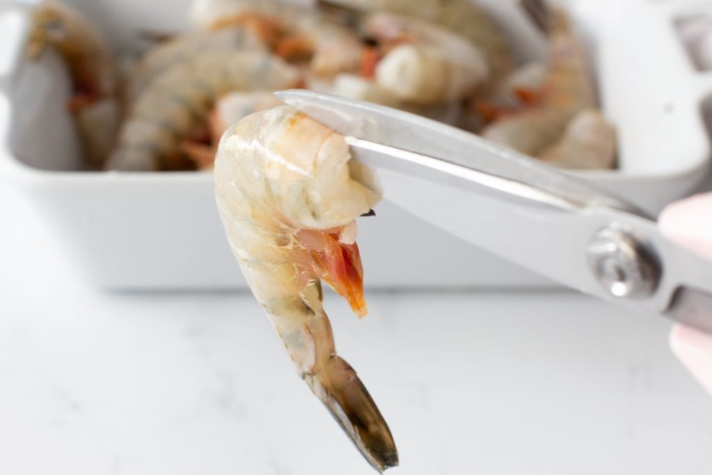 scissors cutting shell for  chili-lime shrimp