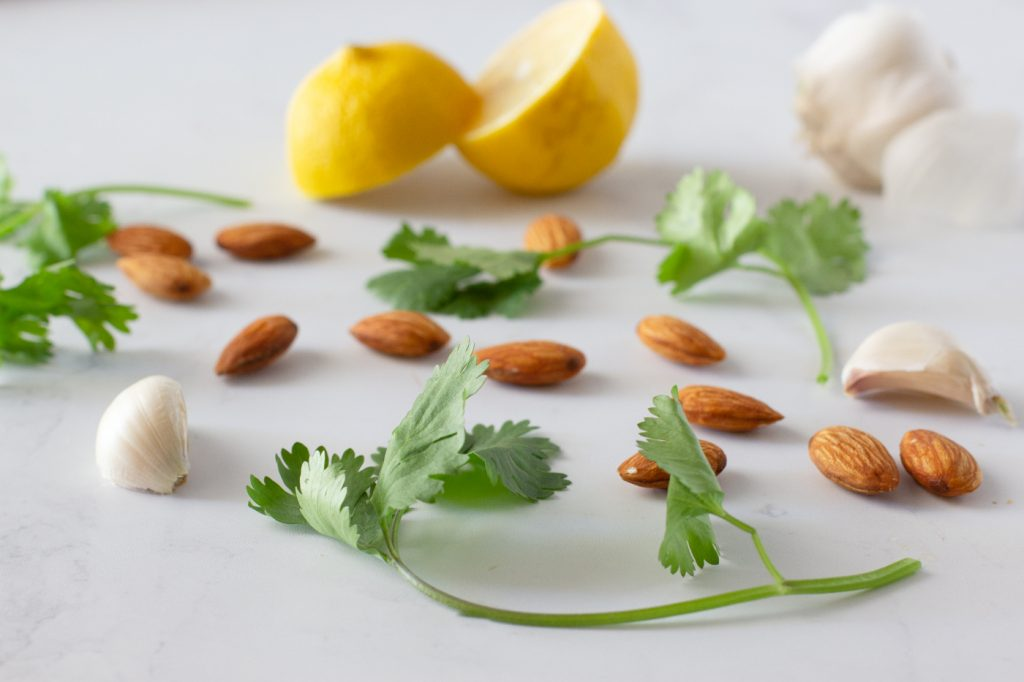 ingredients for cilantro lemon pesto- fresh sprigs of cilantro, whole almonds, garlic cloves and lemon cut in half on white background