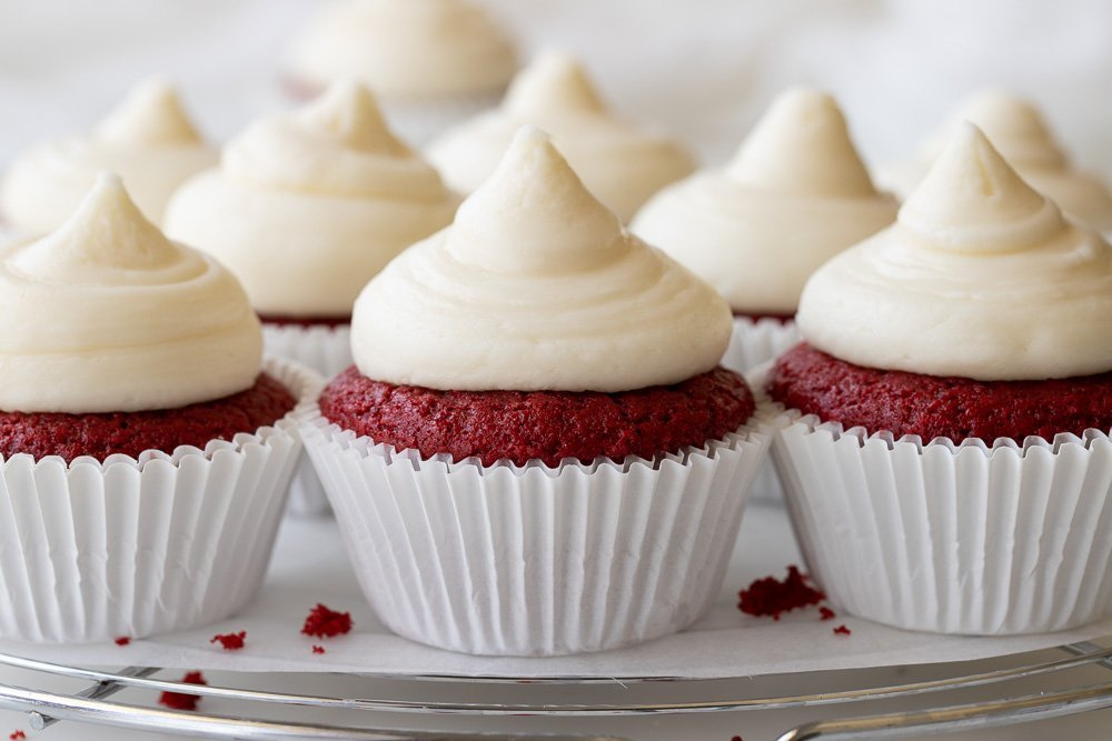 Close up of gluten-free red velvet cupcakes with cream cheese frosting on wire rack. White background.
