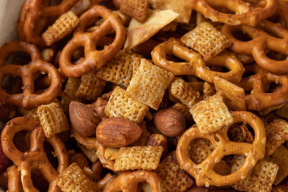 overhead view, close up of gluten-free chex mix snack