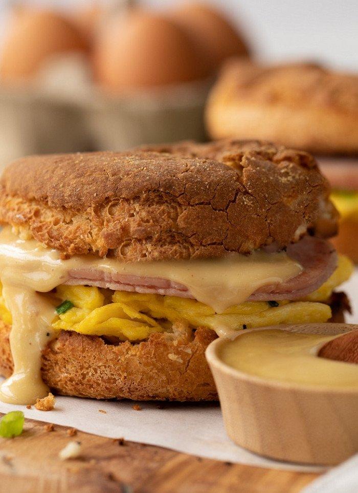 Gluten-Free Breakfast Sandwich with Egg & Canadian Bacon