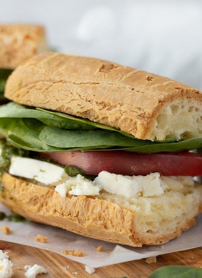 Gluten-Free Breakfast Sandwich With Feta and Pesto