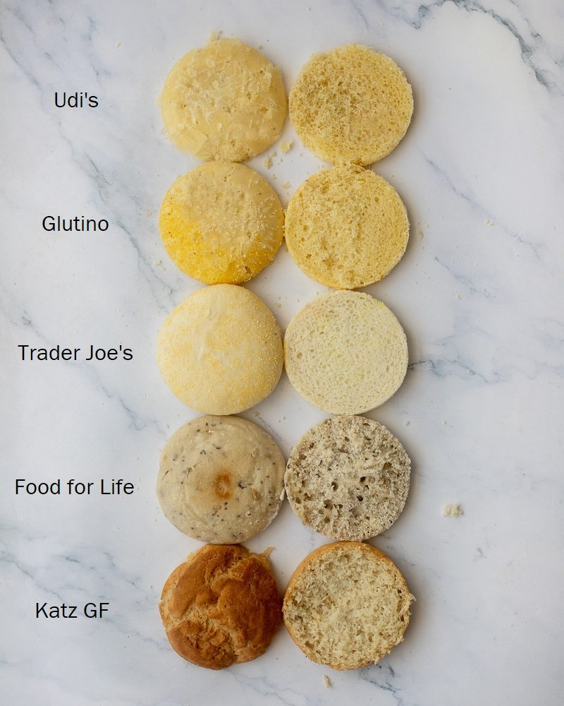Overhead view of five gluten free english muffins on white marble background. Top to bottom -Udi's, Glutino, Trader Joes, Food for Life and Katz Gluten-Free brands.