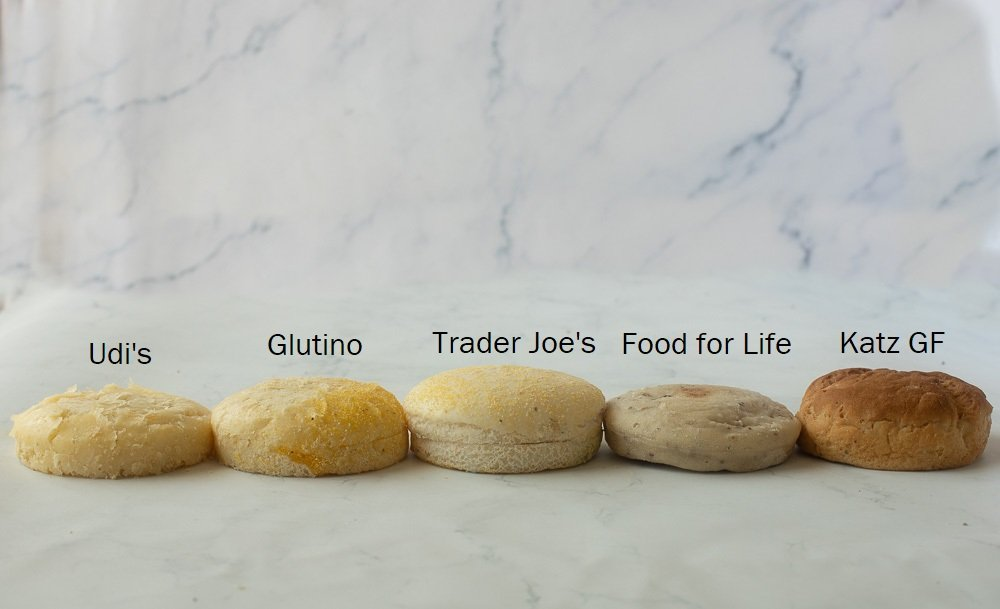 four gluten free english muffins on white marble background. Left to right - Udi's, Glutino, Trader Joes, Food for Life and Katz Gluten-Freebrands.